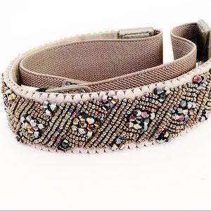BOHO Beaded Elastic Waist Belt Snap Button